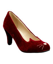 T.U.K. Burgundy & White Velvet Sophkistakitty Pump Size 7 NWB