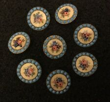 Vintage Set Of 8 Hand Painted Porcelain / Enamel Brass Buttons Turquoise Flowers