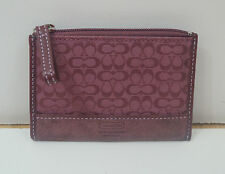 COACH Pink Small Canvas Logo Suede & Leather Coin / Key Holder Wallet Purse