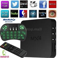 MX4 4K Android 6.0 WiFi RK3229 Quad Core Smart TV Box 16.1 Media + Keyboard P2G8