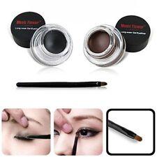 Newest 2PCS Set Black&Brown Eye Liner Gel Eyeliner Makeup +Brush Kit Waterproof*