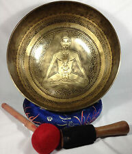 Healing Chakra and Prayer Mantra Carved Himalayan 7 Metal Healing Singing Bowl