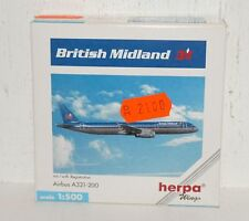 Herpa Wings British Midland Airbus a321-200 con registration 1:500 508728