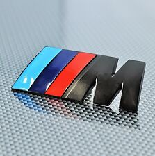 M LOGO BLACK METAL EMBLEM BADGE STICKER DECAL BMW 1 3 5 SERIES M3 M5 M6 X1 X3 X5