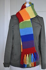 Adult Knitted rainbow scarf with tassels,80 inches,Acrylic,NEW