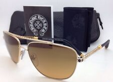 CHROME HEARTS Sunglasses WRECKED'EM GP-BKL Gold Plated Frame w/Brown w/Leather