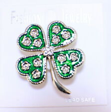 Good Luck 4-leaf Irish Clover Rhinestone Pin Brooch Broach