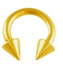 "Horseshoe Heavy 2 Gauge 1/2"" w/Spikes 10mm Gold Plate Body Jewelry"
