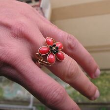 HUGE Ring Coral RED VERY BIG GENUINE Silver Gold  7,5  BEAUTIFUL ONE BAROQUE