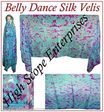 BELLY DANCE SILK VEIL HAND TIE-DYE |TURQUOISE x FUCHSIA|