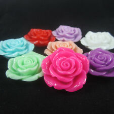 42mm 10pcs Large Rose Resin Flower with Hole for Chunky Necklace Beads Wholesale