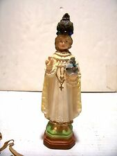 "VTG 8"" CATHOLIC  STATUE INFANT OF PRAGUE CHALKWARE WITH ROBE GOWN VESTMENTS"