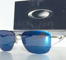 NEW* OAKLEY TAILHOOK Aviator Satin Chrome w Blue ICE Iridium Sunglass 4087-04