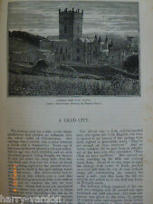 Victorian Walter Crane Illustrated Article 1889 St David's Wales Dead City