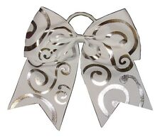 "NEW ""Silver Swirl WHITE"" Cheer Bow Pony Tail Ribbon Hair Bows Cheerleading"