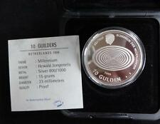 1999/2000 SILVER PROOF NETHERLANDS 10 GULDEN COIN BOX + COA THE MILLENNIUM