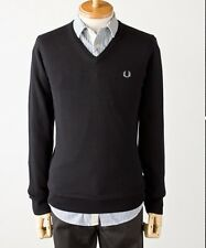 Fred perry K1320 noir homme laine mérinos/coton col v pull taille l