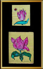 Fleur Cowles Oil Painting On Board Original Flower Signed Modern Artwork Diptych