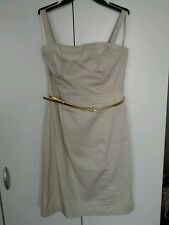 H&M Ladies Strappy Dress Size 10 Stunning Champagne Colour With Gold Belt VGC