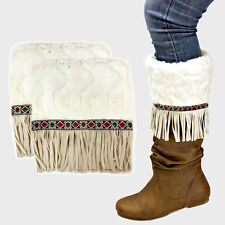 Ivory  Suede Fringe Drop Fur Boot Cuffs Toppers 285141