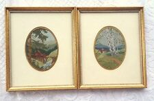 2 landscape Petit Point - Professionally framed/matted in a gold frame 369