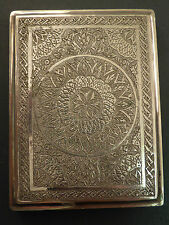 SUPERB LARGE EASTERN PERSIAN ENGRAVED 84 SILVER CIGARETTE CASE