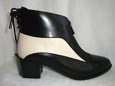 H/Williams Black Leather w/White Snakeskin Ankle Boots Hexagon Medium Heels 40 M