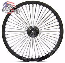 """21"""" x 3.5"""" 48 Fat King Spoke Front Wheel Black Rim Single Disc Touring & Softail"""