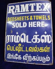 Old Vintage Advertising Ramtex Bedsheet Towels Enamel Signboard Collectible PJ73