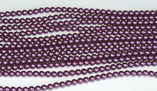 Purple Velvet 4 mm Glass Pearls Beads (50)