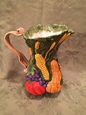 "Flowers, Inc. Balloons Hand Painted Fall Harvest 64 oz Pitcher, 10"" Tall"
