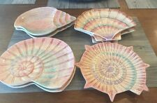SET OF 7 GORGEOUS FITZ AND FLOYD OMNIBUS 1996 SEA SHELL PLATES PINKS