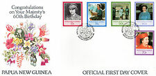 PAPUA NEW GUINEA 1986 HM THE QUEEN 60th BIRTHDAY SET OF ALL 5 ON FIRST DAY COVER