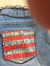 NWOT light blue denim red/white/blue sequined and belted shorts by SO/Sz. 14