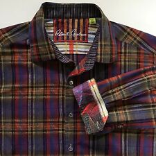 Robert Graham Button Shirt Flip Cuff Mens Size XL Plaid Paisley Long Sleeve