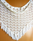 White Hand Knitted Woven Crotchet Triangle Shawl Wrap Scarf w. Fringe Clean VGUC
