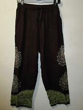 Pants Fits M L XL Brown Green Batik Art Embroidery Hippy Soft Rayon NWT 018