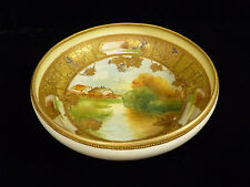EXQUISITE SIGNED NIPPON HAND PAINTED GILT & ENAMELED SCENIC FOOTED BOWL