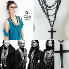 Boho New Women Multi-layer Black Chain Pendant Metal Punk Cross Long Necklace