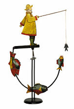 "Antiqued 12"" Fisherman Sky Hook Teeter Totter Tin Balance Toy Figurine Nautical"