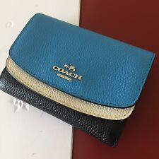 Coach Navy Multi Colorblock Leather Double Flap Medium French Wallet NWT 53852