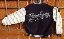 New York Yankees Reversable Jacket-Leather Sleeves-Wool Blend-XL-Blue-Baseball