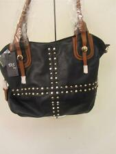 Black Faux Leather Oversize Tote/Satchel Handbag/Purse w Studs and crystal trim