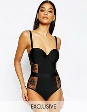 Wolf & Whistle Bustier Lace Swimsuit B/C - E/F Cup  BLACK   10d/dd