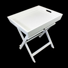 White Butler Serving Tray folding side coffee tea table Handles Portable desk