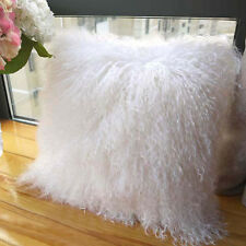 White 100% Real Mongolian Lamb Wool Fur Cushion Protector Pillowcase 18*18in