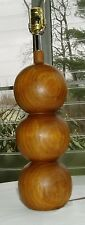 Midcentury Danish Modern Retro Eames Stacked Wood Teak 3 Ball Gourd Table Lamp
