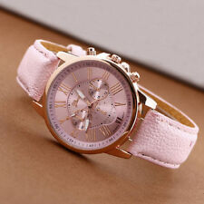 Geneva Women Girl Roman Numerals Leather Quartz Wrist Watch Cuff Bracelet Pink