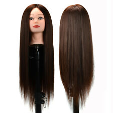 "24"" Chestnut Hair Training Hairdressing College Mannequin Dummy Head+FREE Holder"
