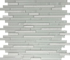 10-SF White Marble Glass Blend Linear Mosaic Tile kitchen backsplash wall sink